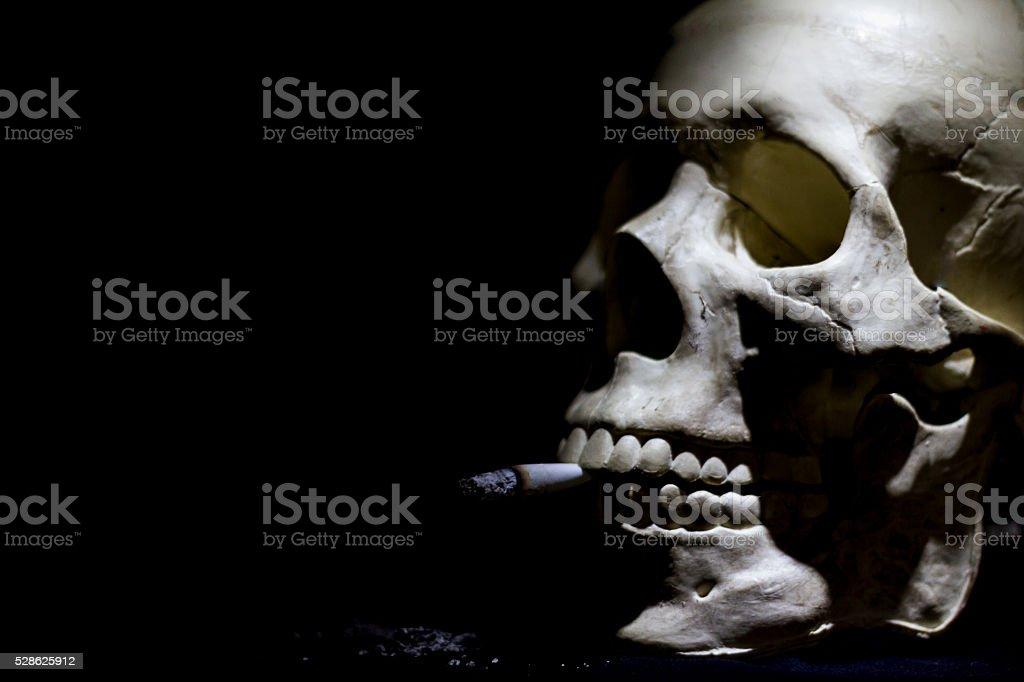 skull smoker stock photo