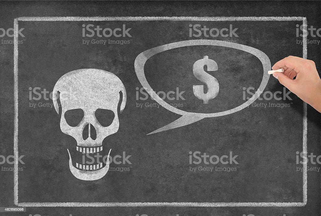 Skull speaking about Dollars stock photo