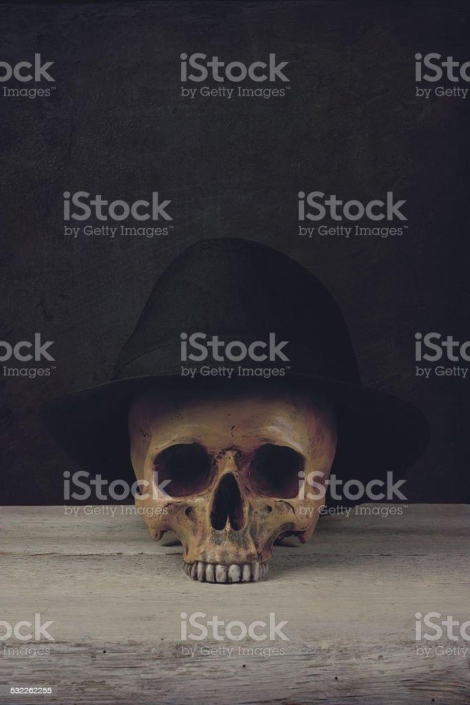 skull with Fedora Hat stock photo