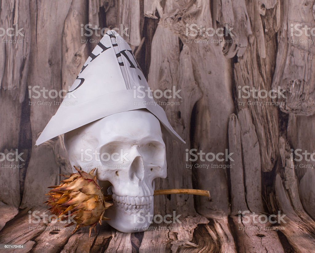 Skull with hat of newspaper and thistles in his teeth stock photo