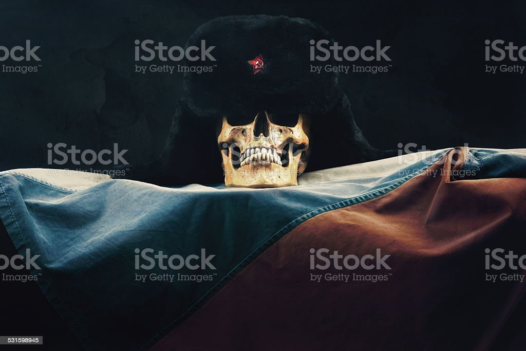 Skull with Russian Federation Flag and old russian Uschanka stock photo