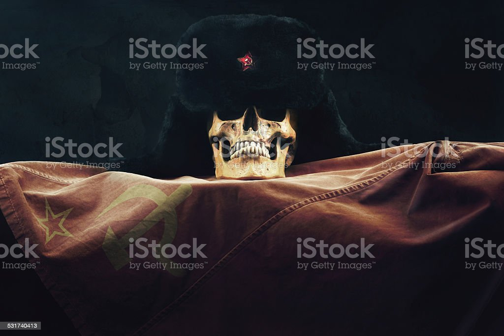 Skull with Russian Flag and old Uschanka stock photo
