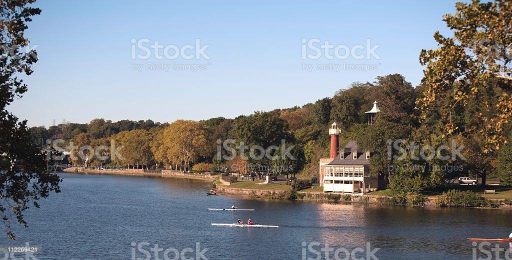 Skullers on the Schuykill River Philadelphia stock photo