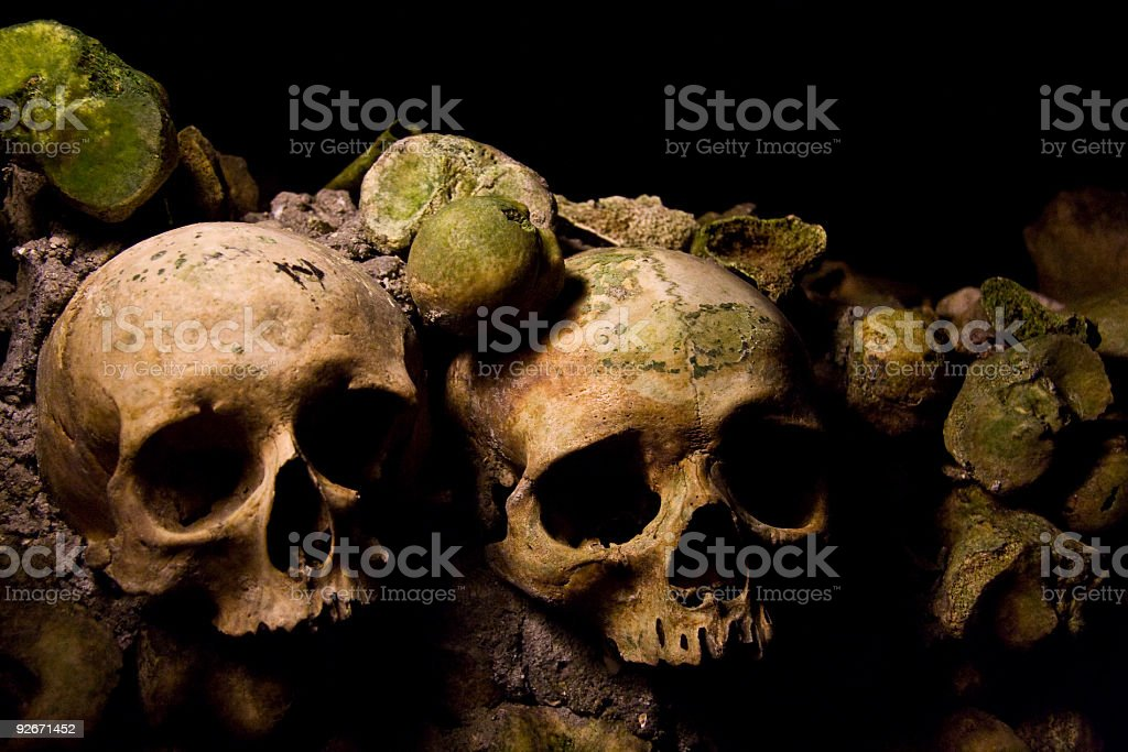 Skulls in a French Catacomb stock photo