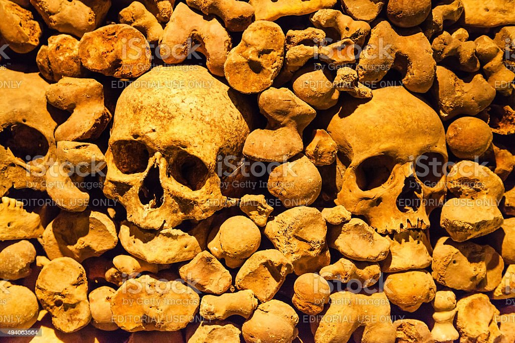skulls in Ossuary of St James Church in Brno stock photo