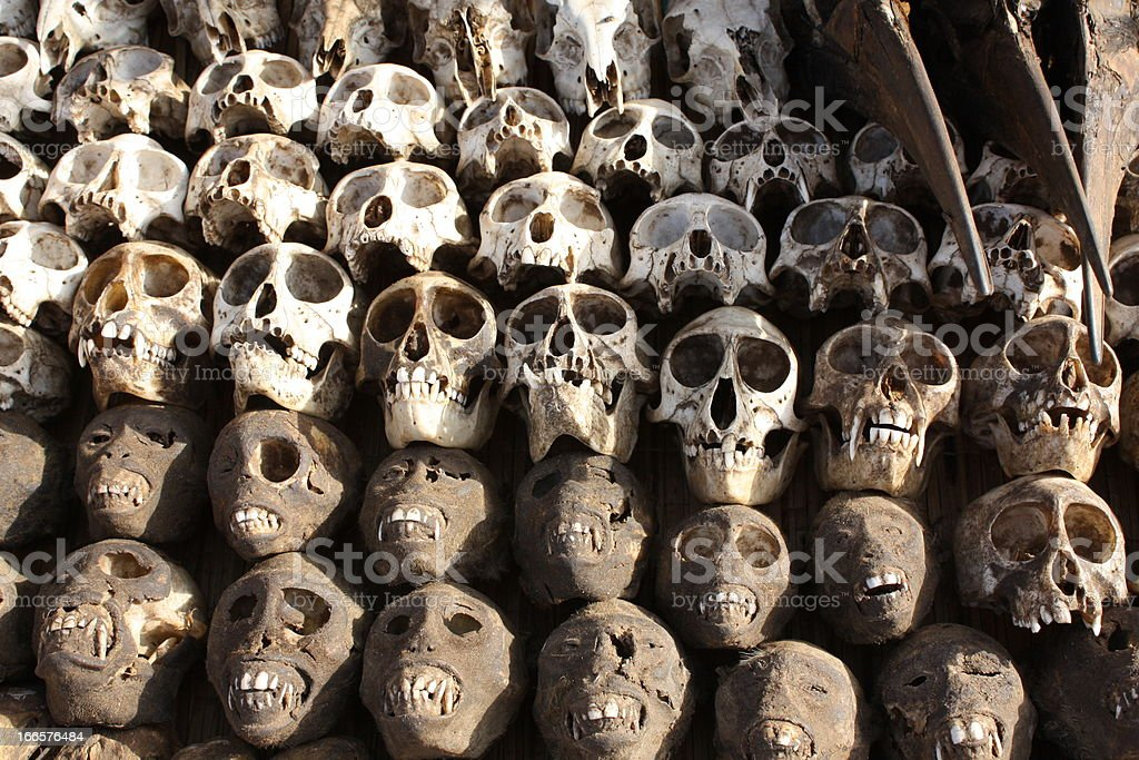 Skulls & Voodoo Supplies at Akodessewa Fetish Market, West Africa stock photo
