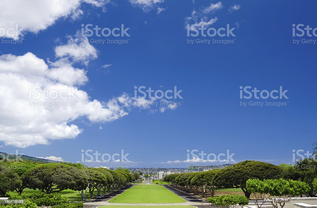 Sky above National Memorial Cemetery of the Pacific stock photo