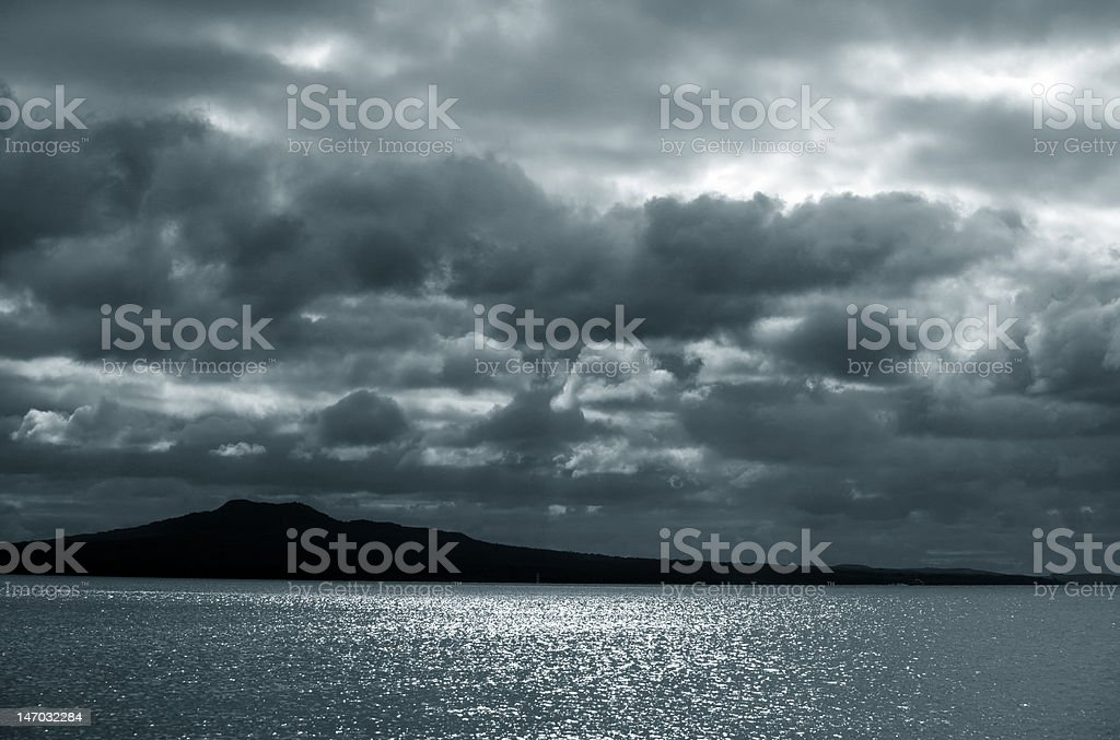 sky above ocean before storm. New Zealand royalty-free stock photo