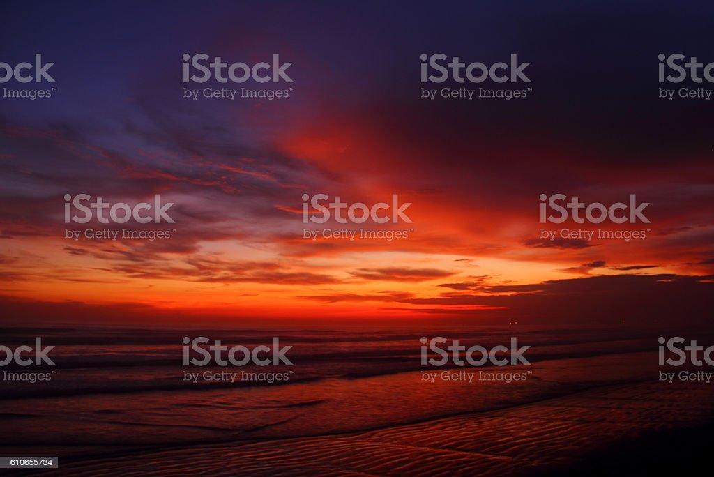 Sky after rains at sunset stock photo