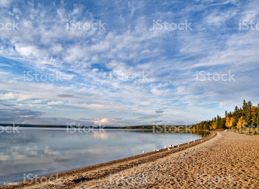 Sky and Beach, Waskesiu Lake in Prince Albert National Park stock photo