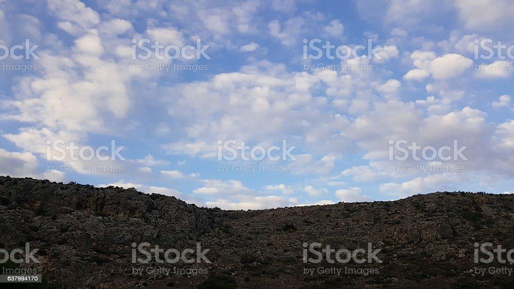 Sky and rocks scenery, Mediterranean nature landscape, Carmel national park stock photo