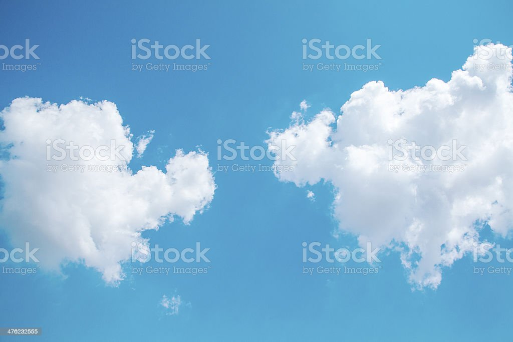 Sky and two clouds royalty-free stock photo