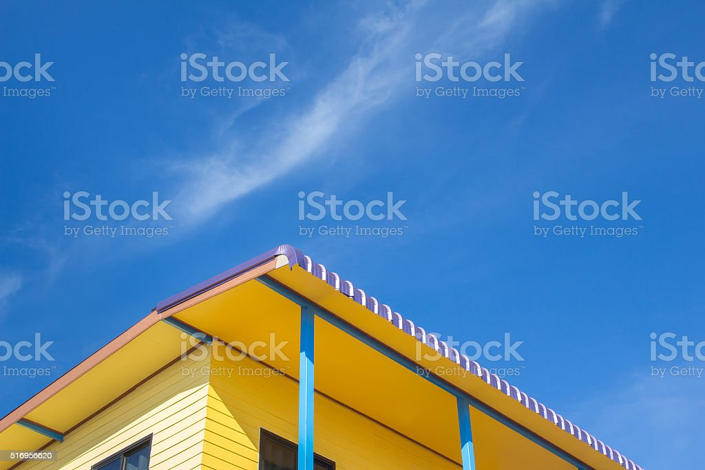 Sky and yellow house ,Country home stock photo