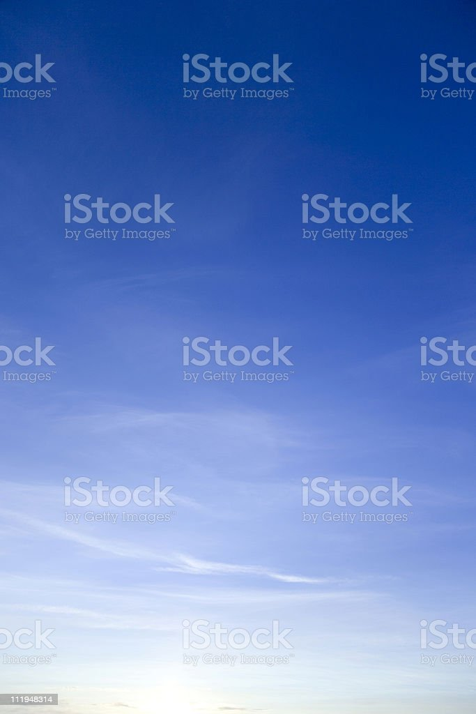 Sky at dawn with a natural gradient of lightness stock photo