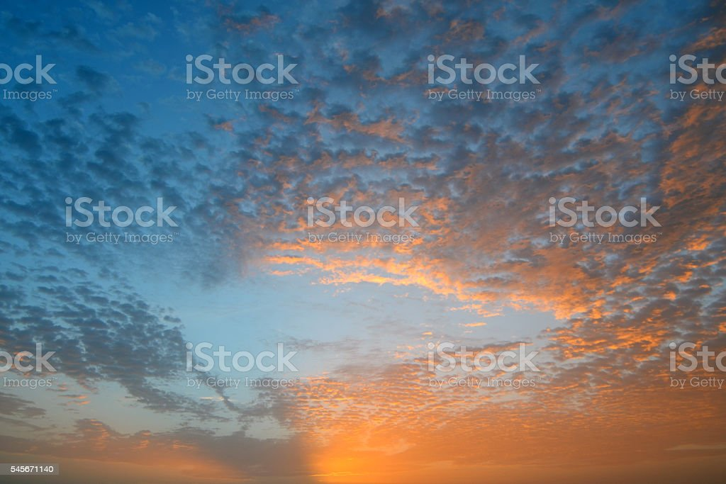 Sky at Sunset in the Turks and Caicos Islands stock photo