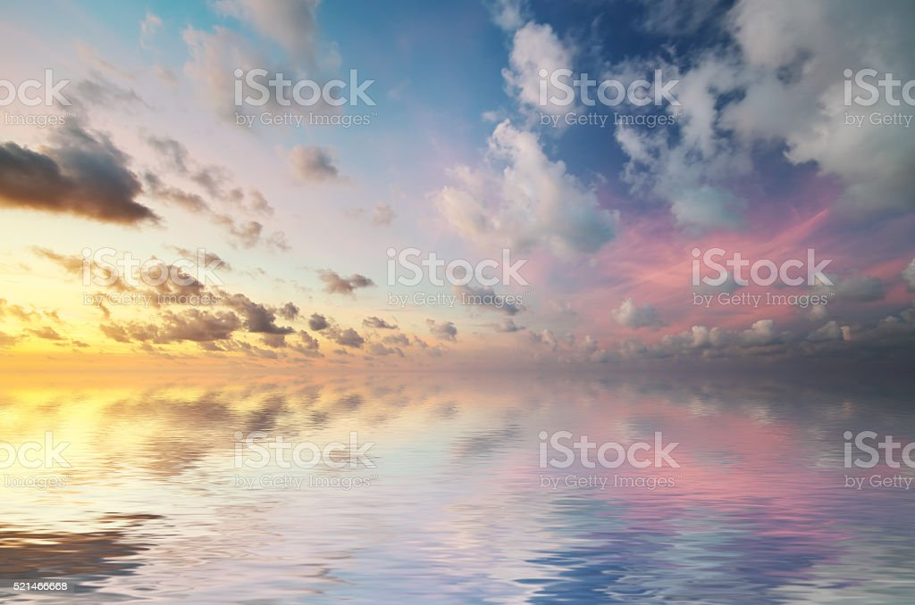 Sky background on sunset. stock photo