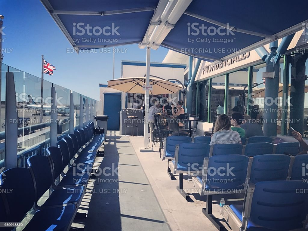 Sky Bar and Terrace at Providenciales Airport stock photo