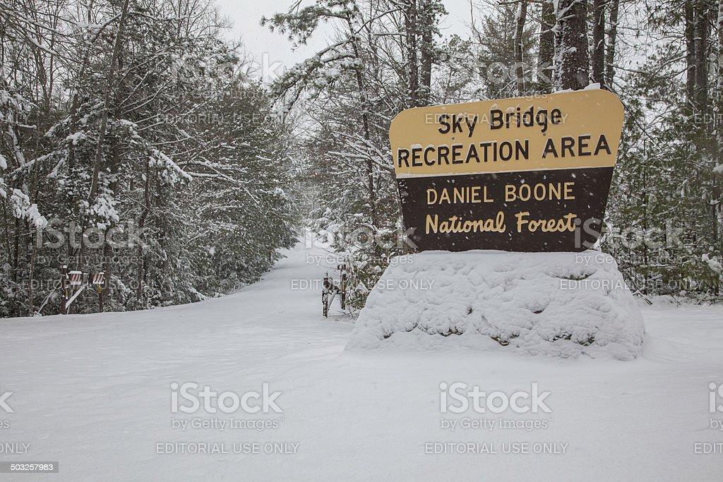 Sky Bridge Under Snow stock photo
