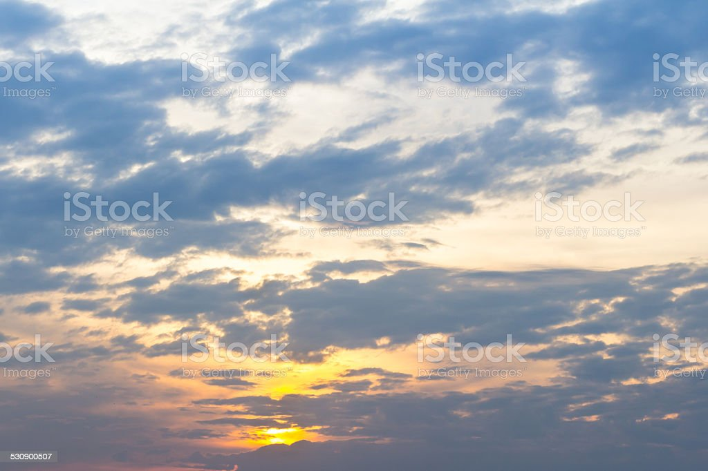 Sky, Bright Blue, Orange And Yellow Colors Sunset. stock photo