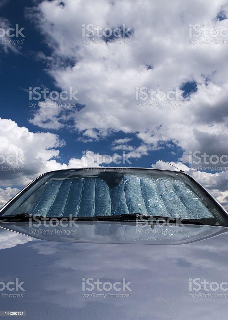 Sky car with sun screen stock photo