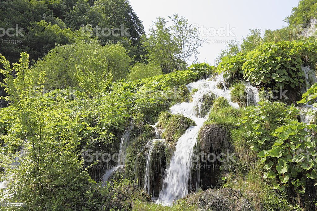 sky cascade with streaming water and green leaves Plitvice Croatia royalty-free stock photo