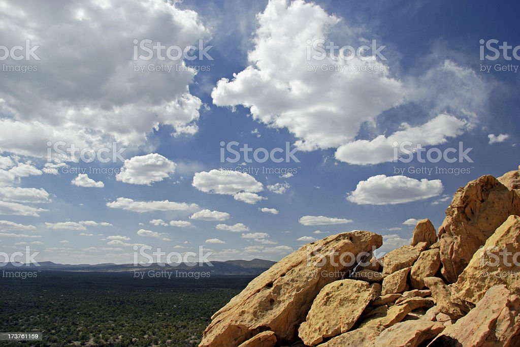 Sky, Clouds and Rocks - El Malpais National Monument royalty-free stock photo