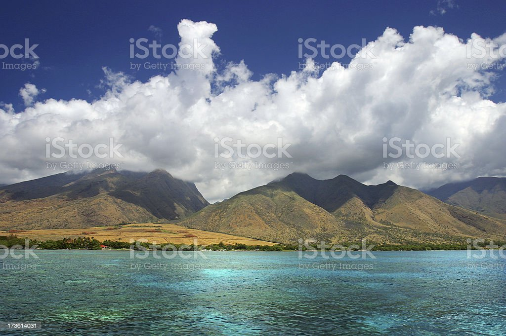 Sky, Clouds, Mountains, Ocean royalty-free stock photo