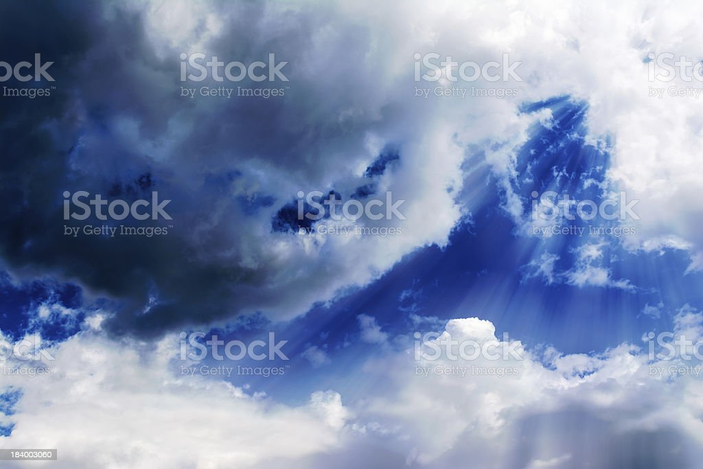Sky Clouds with Sun Rays royalty-free stock photo