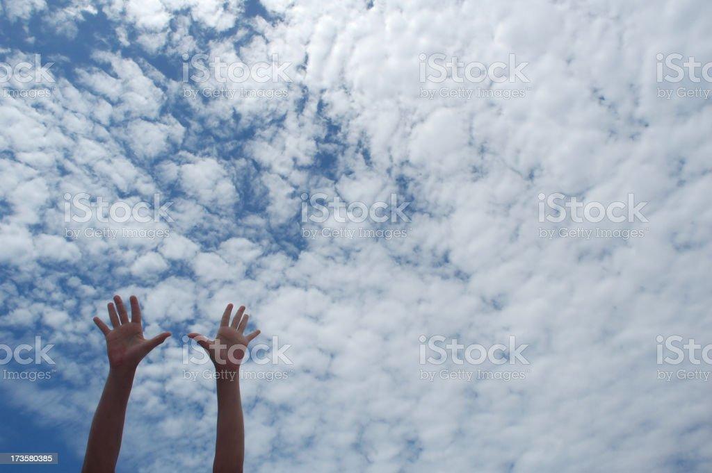 sky hands stock photo