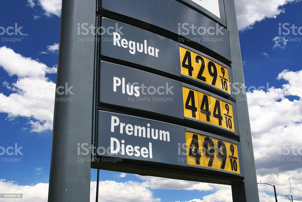 sky high gas price unleaded 4.44 stock photo