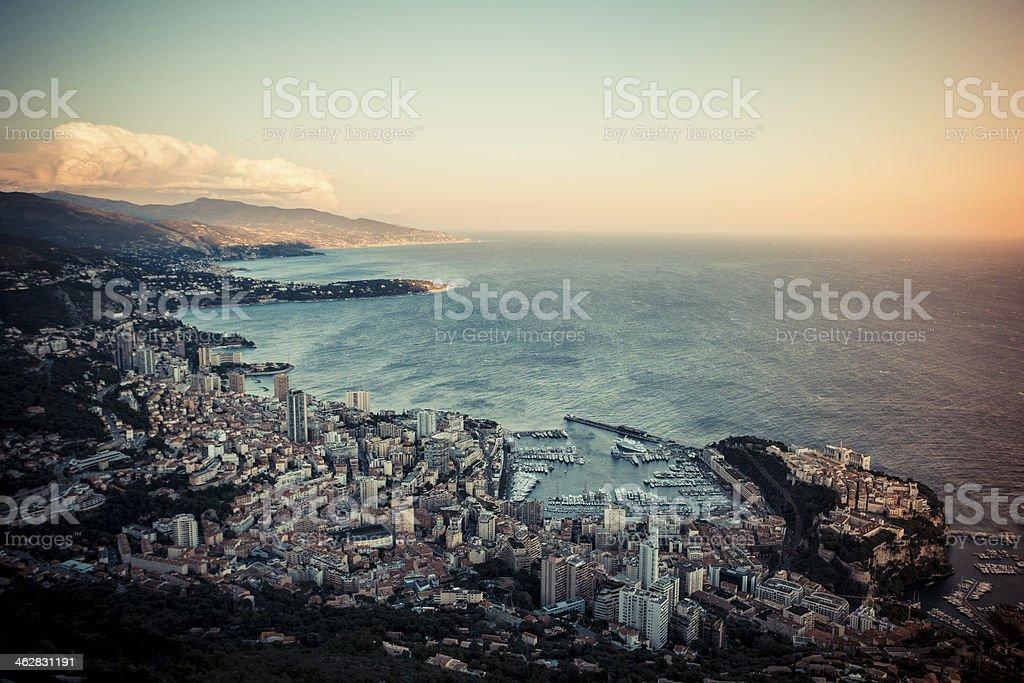 Sky high view of the coastal city Monaco Monte Carlo stock photo