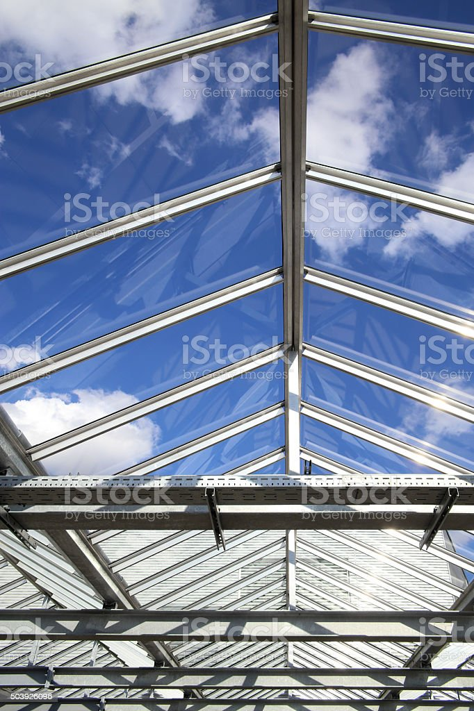 Sky in an office. Transparent roof of contemporary building stock photo