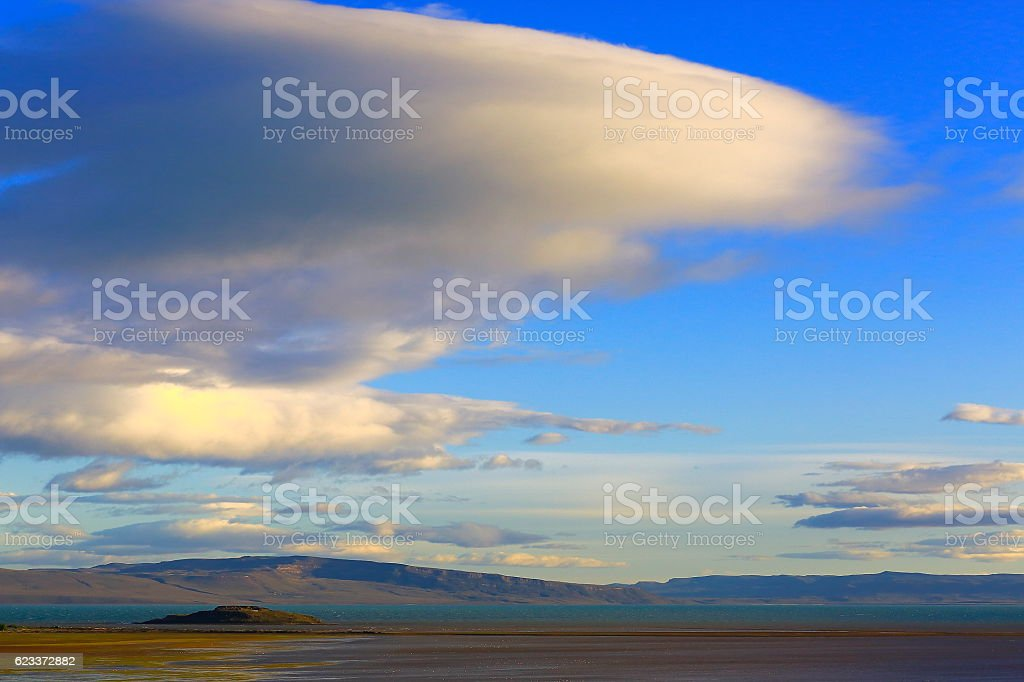 Sky landscape: Dramatic cloudscape above Lake Argentino, Patagonia Argentina stock photo