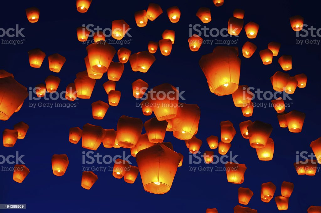 Sky lanterns against the sky with blue tone stock photo
