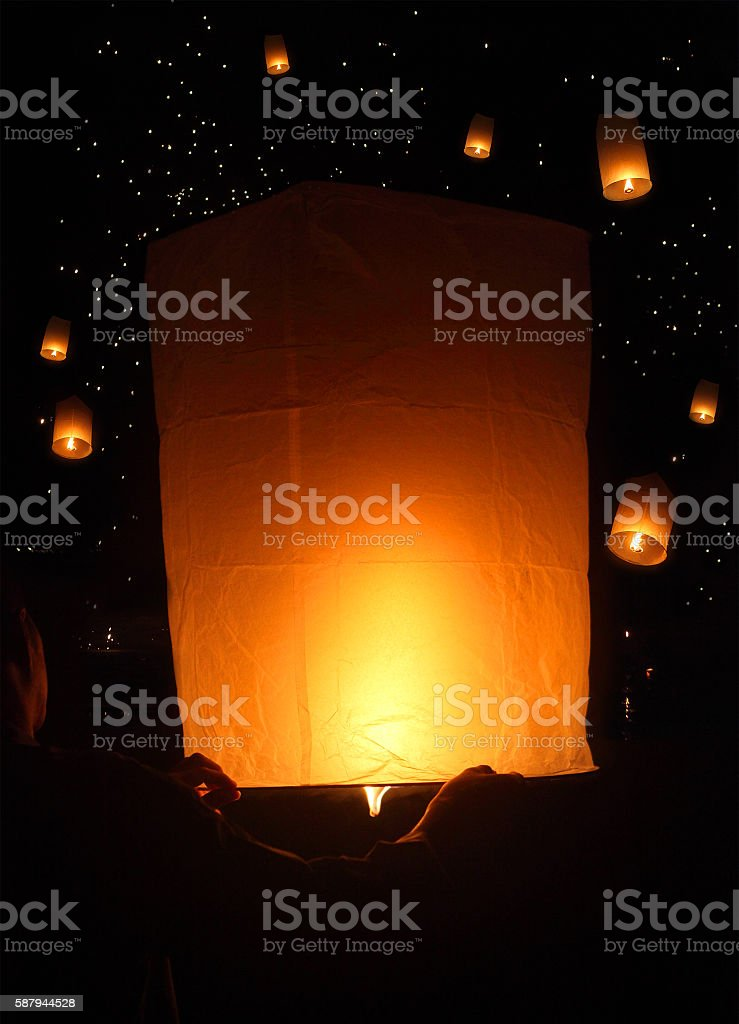 Sky lanterns festival, Loy Krathong, Thailand stock photo