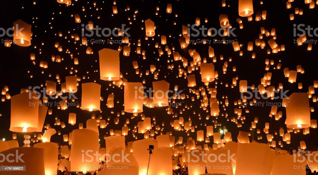 Sky lanterns festival or Yi Peng festival in Thailand stock photo