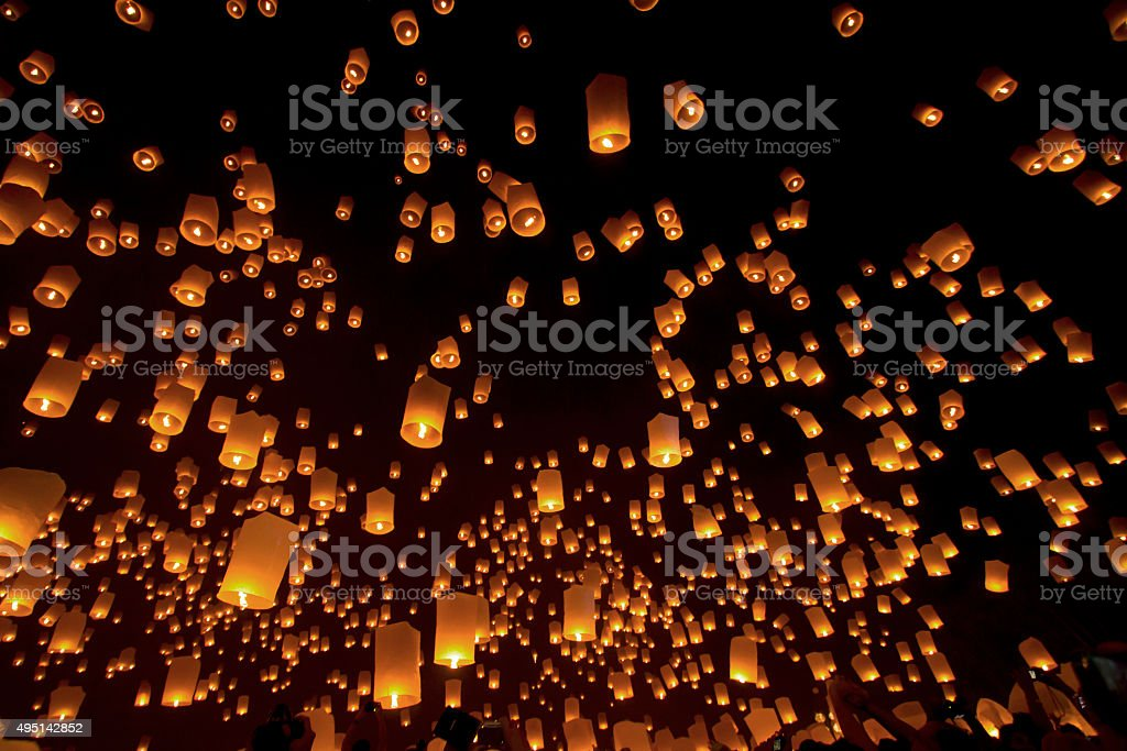Sky lanterns, Loy Krathong and Yi Peng Festival. Chiangmai,Thailand stock photo