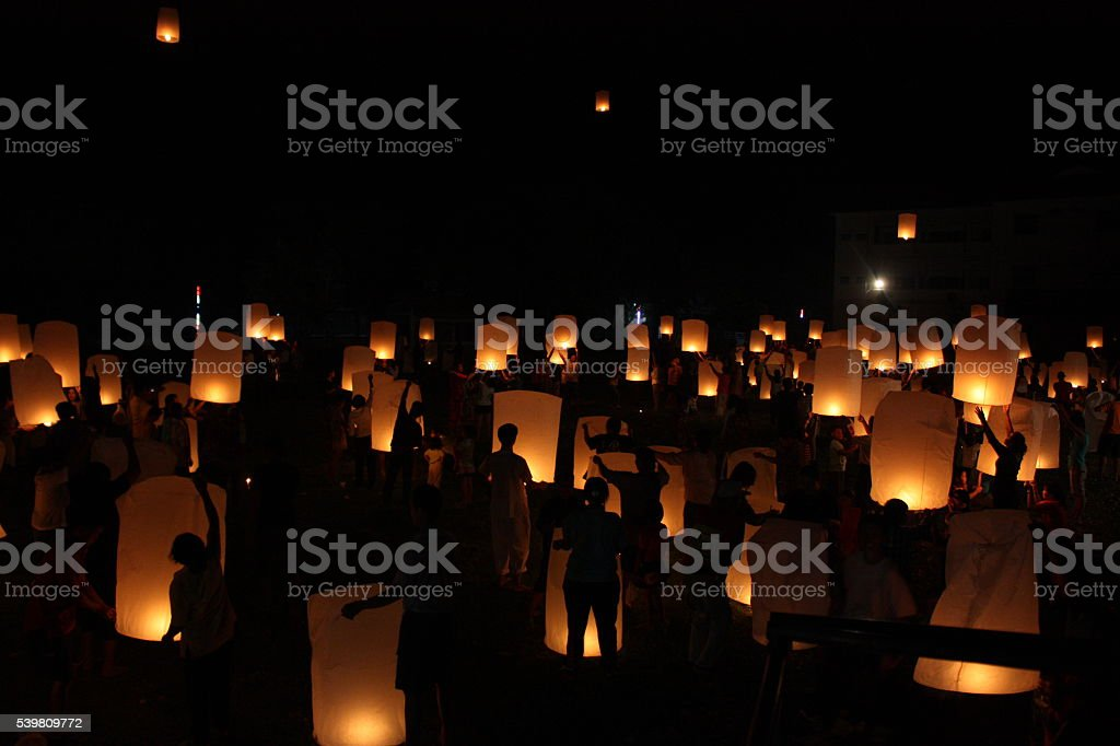Sky lanterns stock photo