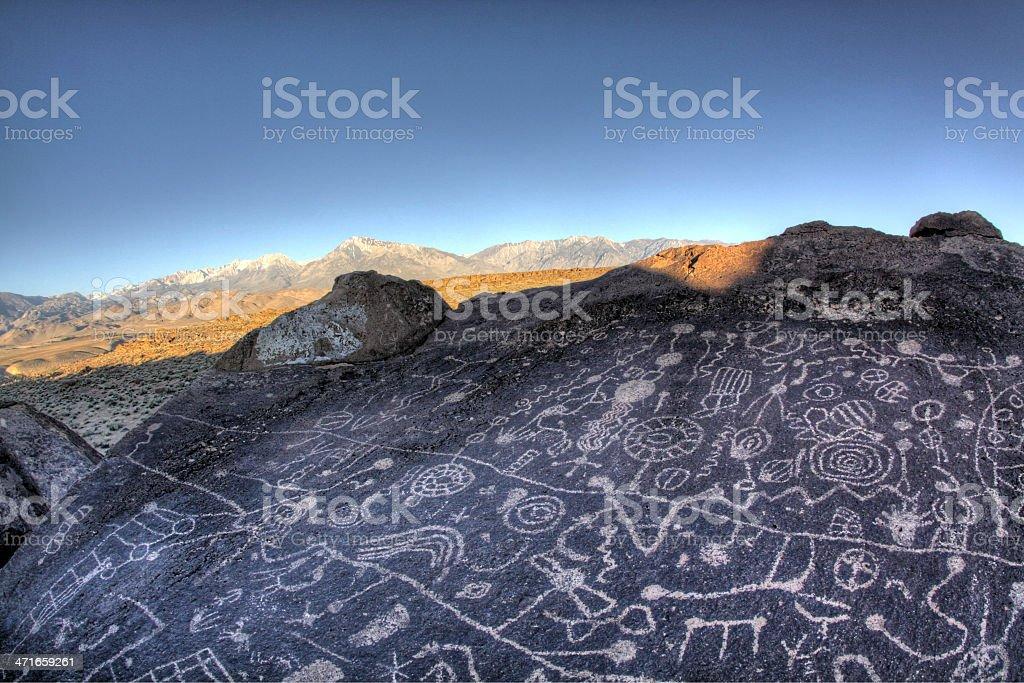 Sky Rock Petroglyphs royalty-free stock photo