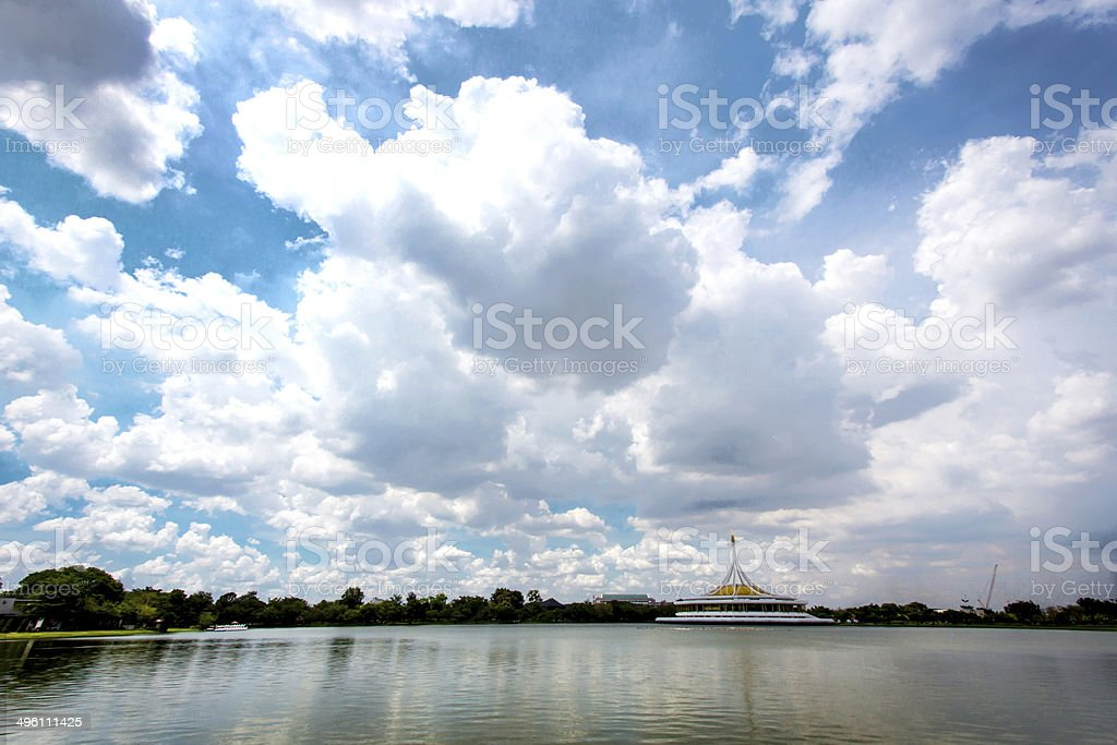 sky scape in lake of Bangkok's national park royalty-free stock photo