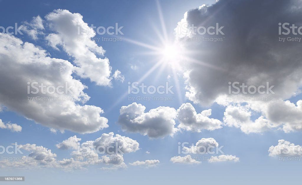 Sky. Sun in the clouds. stock photo