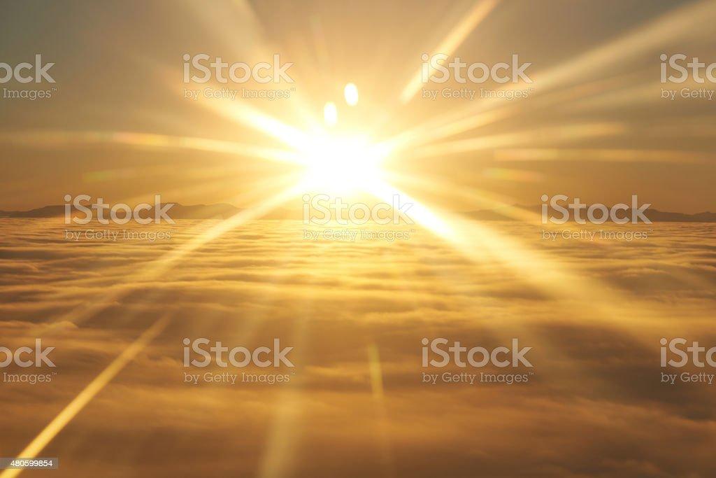 Sky, sunset sun and clouds stock photo
