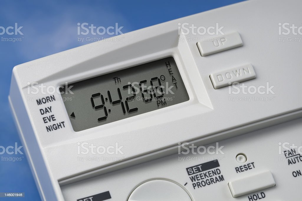 Sky Thermostat 68 Degrees Heat stock photo