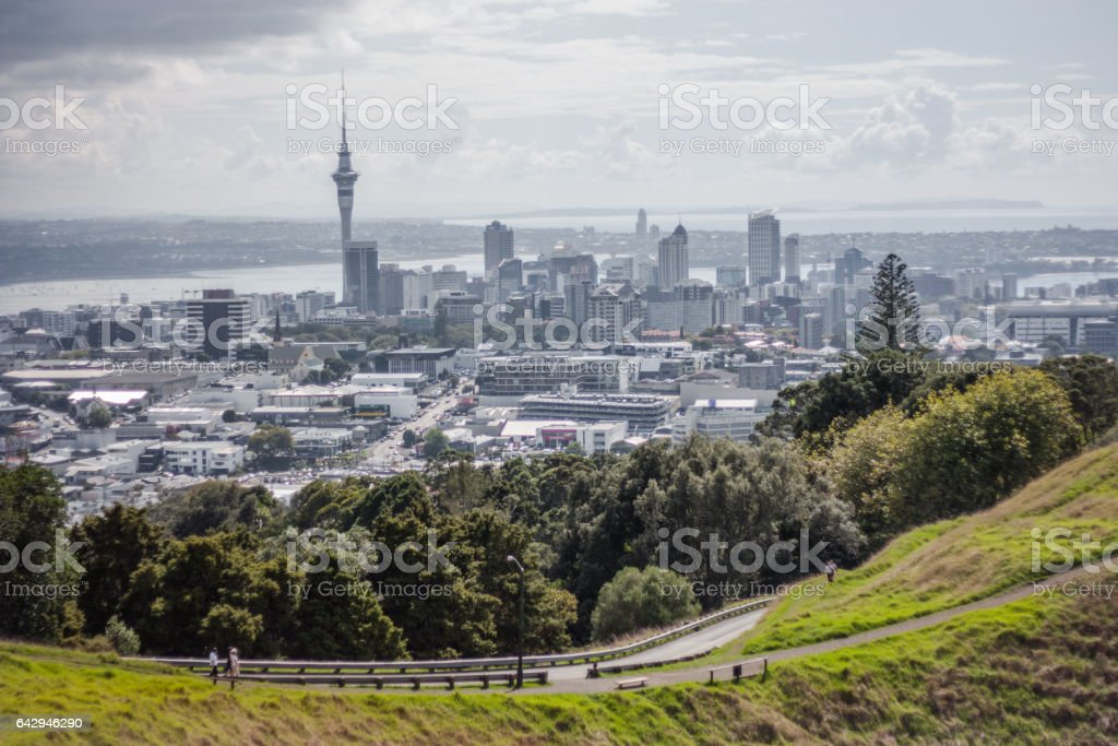 Sky Tower at Auckland, New Zealand. stock photo
