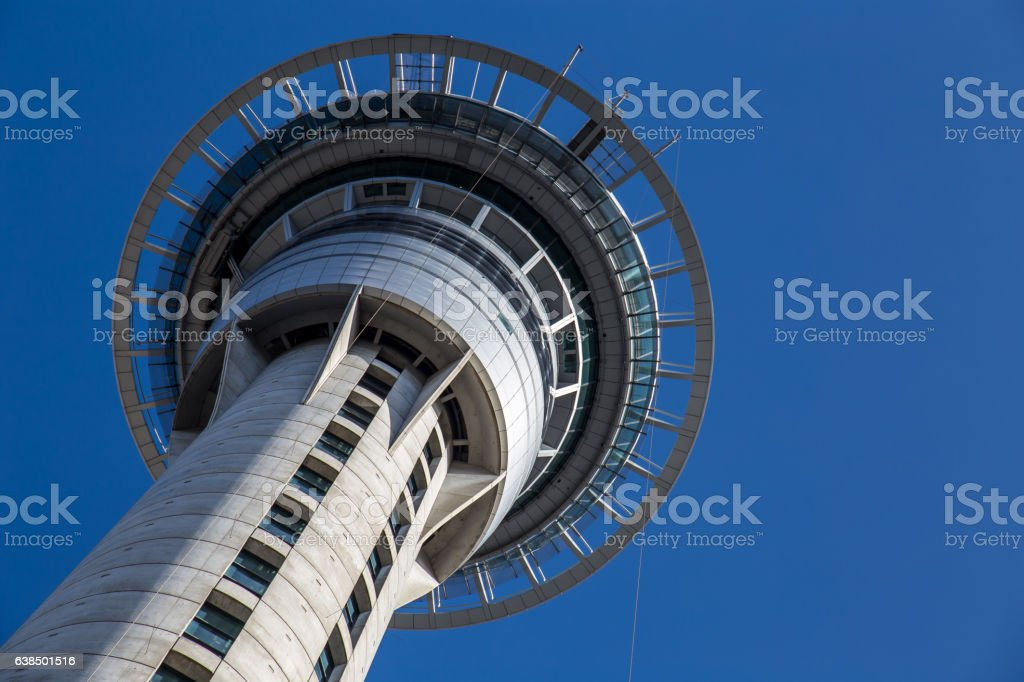 Sky Tower close-up, Auckland stock photo