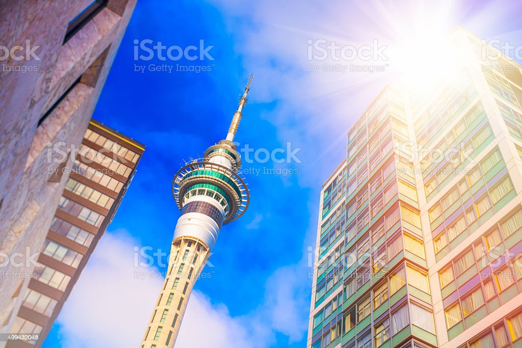 Sky Tower in Auckland, New Zealand stock photo