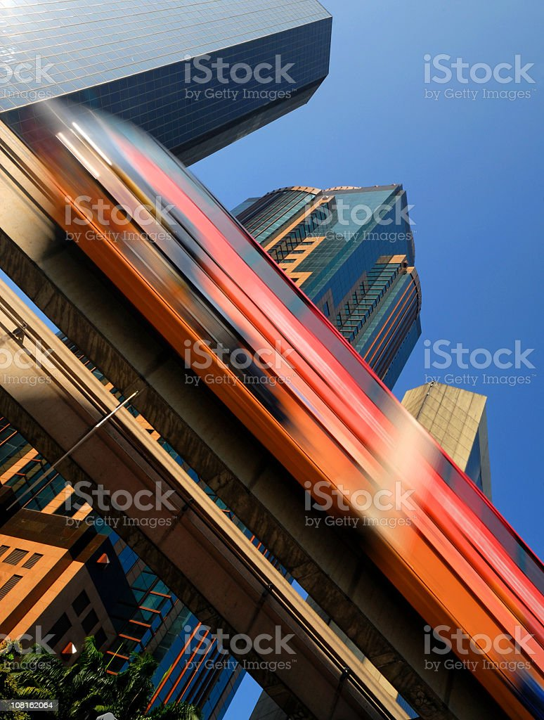 Sky Train in Downtown, Motion Blur royalty-free stock photo