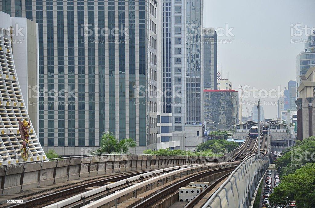 Sky train on Railway at Thailand stock photo
