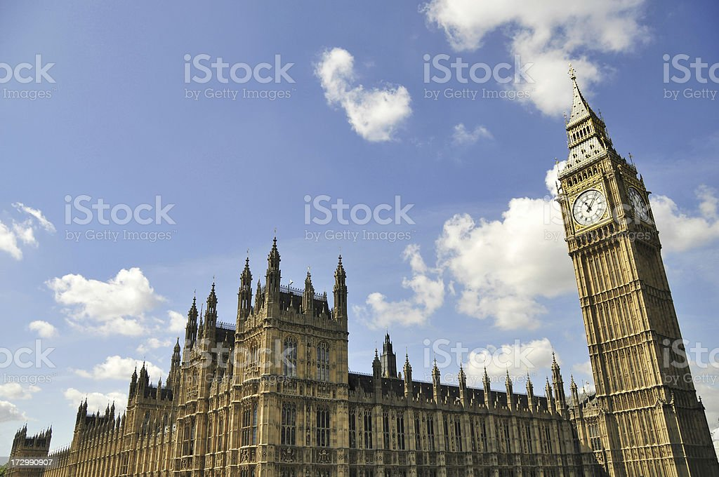Sky view above the Houses of Parliament square in London stock photo