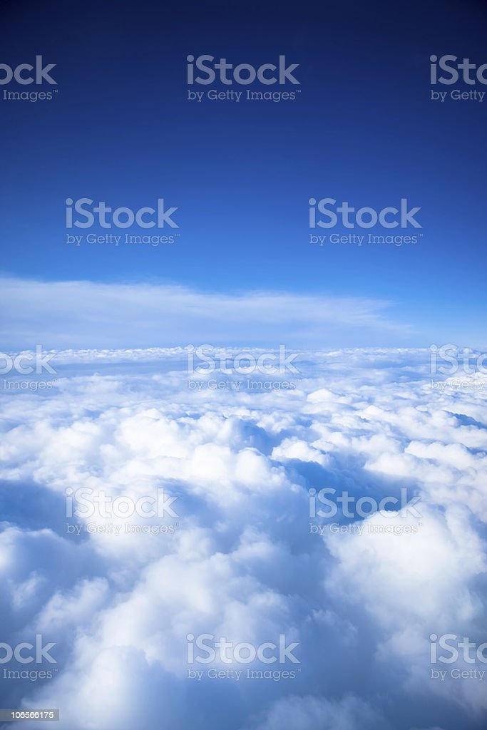 Sky view in the clouds in blue and white royalty-free stock photo